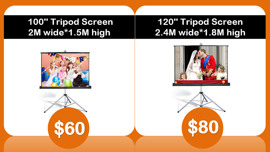 new 100 inch and 120 inch tripod screen hire Sydney