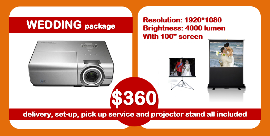 new wedding projector package hire Sydney 360 deal